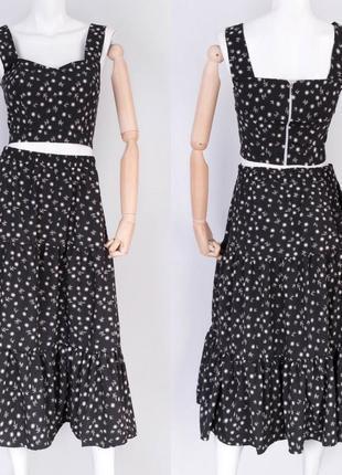 Стильный летний костюм с юбкой в цветочный принт