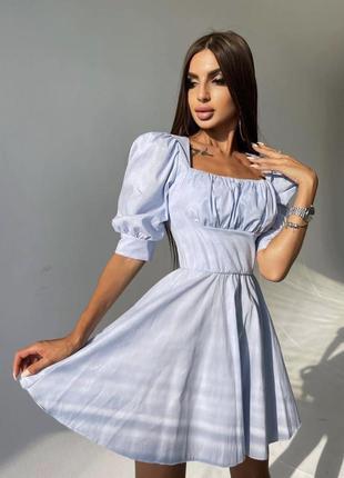 Платье с объемными рукавами, голубое платье, женское голубое платье