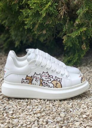 Кеди alexander mcqueen oversized white/cat