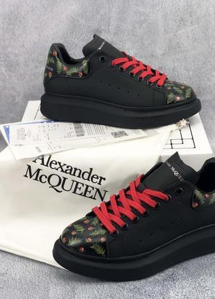 Кеди alexander mcqueen oversized black/flowers