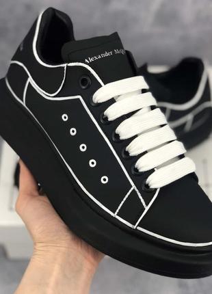 Кеди alexander mcqueen oversized black/white line