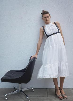 Платье миди белое хлопковое с горловиной халтер halter ажурное с вышивкой и подкладкой zara