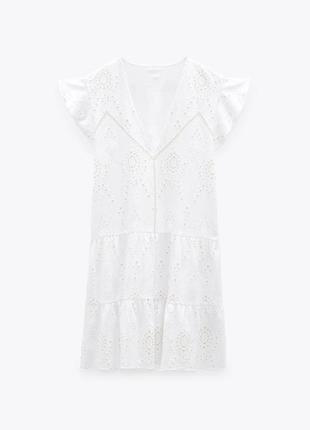 Платье белое хлопковое ажурное кружевное ярусное с рюшами воланами zara