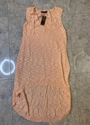 Летняя распродажа 🔥🔥🔥 персиковая вязаная туника без рукавов