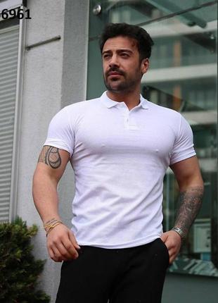 Поло футболка мужская белая базовая
