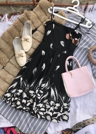Літнє платье плаття сарафан чорний на бретельках платє міді сукня миди карандаш