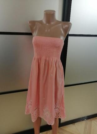 Легкий сарафан розово-персикового цвета, s/m