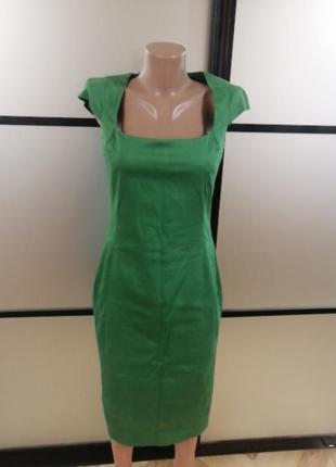 Зеленое платье футляр zara, s/m