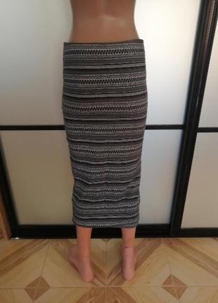 Трикотажная юбка/карандаш миди, h&m, размер s3 фото