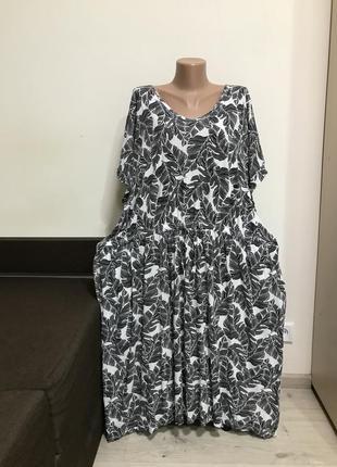 Натуральное качественное платье с карманами батал