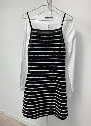 Чёрное белое полосатое платье сарафан zara mango
