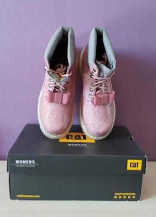 Новые кожаные ботинки caterpillar бант съёмный розовые оригинал3 фото