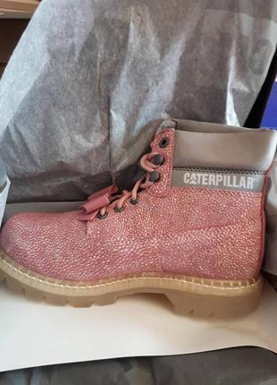 Новые кожаные ботинки caterpillar бант съёмный розовые оригинал4 фото