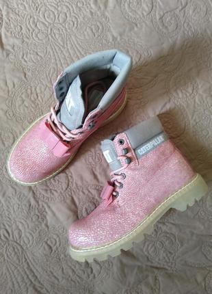 Новые кожаные ботинки caterpillar бант съёмный розовые оригинал5 фото