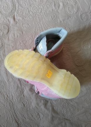 Новые кожаные ботинки caterpillar бант съёмный розовые оригинал6 фото