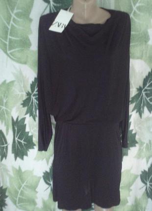 Платье туника  черное zara 100% вискоза
