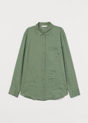 Льняная рубашка h&m premium quality 100% лён