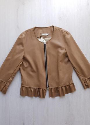 Стильная коричневая женская куртка из экокожи с баской рукав 3/4 piazza italia италия