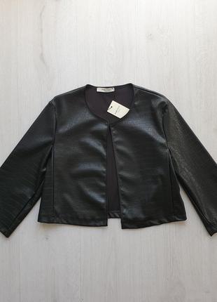 Стильный черный женский пиджак жакет из экокожи под крокодила рукав 3/4 piazza italia