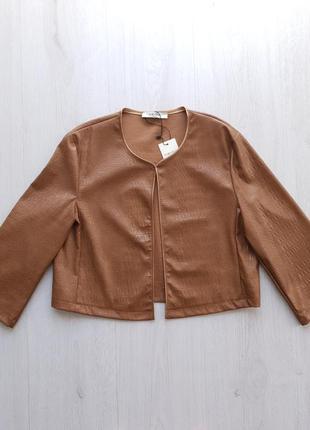 Стильный коричневый женский пиджак жакет из экокожи под крокодила рукав 3/4 piazza italia
