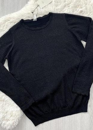 Черный трикотажный джемпер тонкий свитер с люрексом piazza italia италия