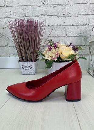 Женские туфли на устойчивом каблуке натуральная кожа красные nel 72 фото