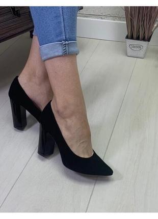 Женские туфли на каблуке натуральная кожа черные rita 6 натуральная замша