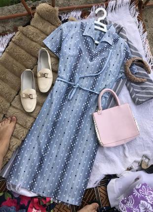 Актуальне голубе платье плаття в горох сукня літо платє оверсайз2 фото