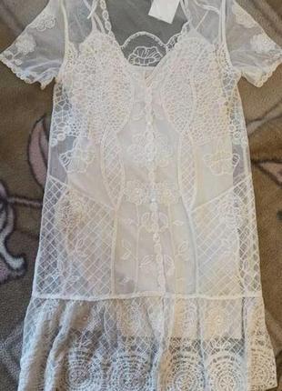 Лимитированная колекция кружевное платье zara сарафан