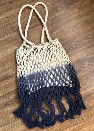 Плетеная пляжная сумка шопер pull&bear