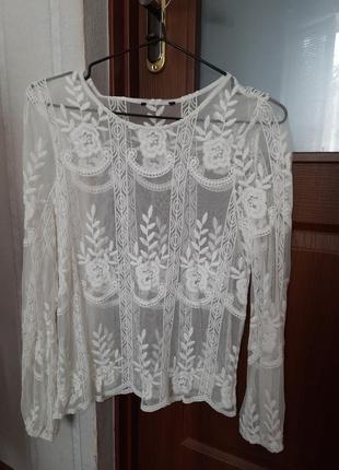 Блузка сеточка с вишивкой