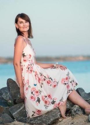 Платье сарафан в розы h&m asos zara белое в розы new3 фото