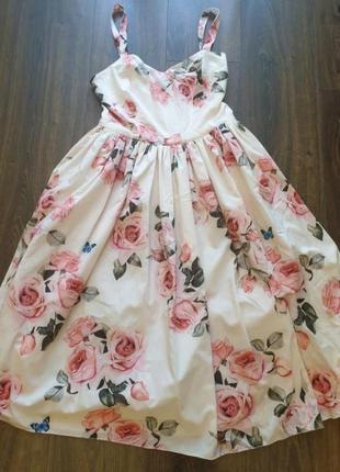 Платье сарафан в розы h&m asos zara белое в розы new2 фото