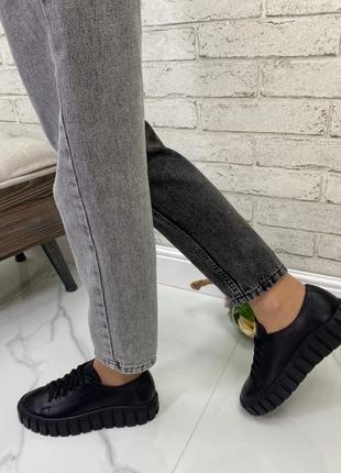 Женские кроссовки натуральная кожа черные натуральная кожа флотар черные