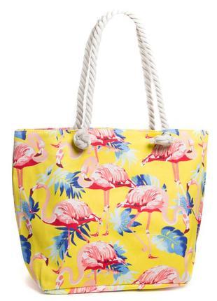 Летняя женская пляжная сумка на пляж шопер желтая