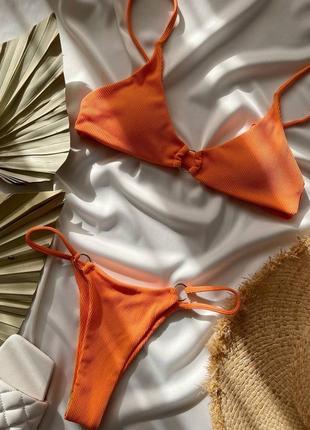 Минималистичный купальник, р.42,44, нейлон+спандекс, оранжевый3 фото