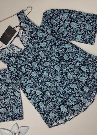 Блуза натуральная новая в принт огурцы xs