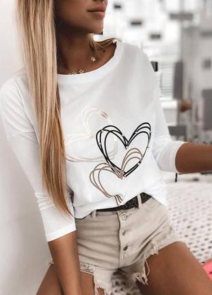 Кофта сердце, длинные рукава, белый черный