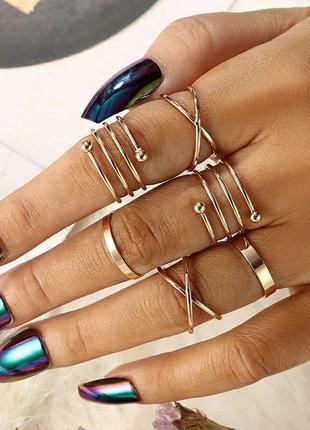 Набор колец кольца на пальцы и фаланги под серебро золото 6 шт