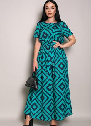 Женское свободное платье в пол с принтом батал большие размеры 46-60