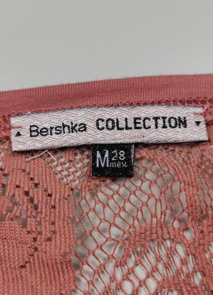 Блуза трикотажная красивая с кружевом bershka m3 фото
