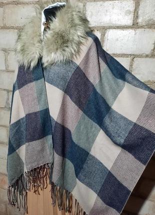 Пончо кейп накидка шарф палантин с меховым воротником