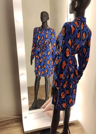 Продано.  яркое интересное лепардовое  платье рубашка 💙🧡