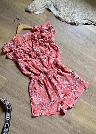 Ромпер , комбез с шортами , комбинезон розовый лёгкий красивый