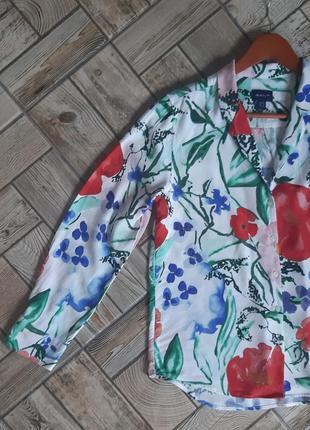 Шикарная рубашка блуза сорочка свободного кроя в цветочный принт