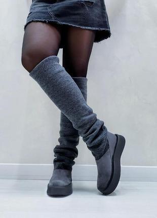 Акция чоботи замшеві р35-41 панчохи ботфорти демі зима сапоги замшевые чулки ботфорты ботинки7 фото