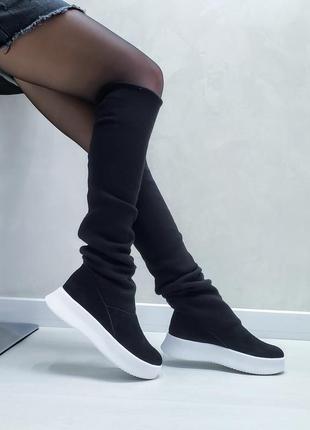 Акция чоботи замшеві р35-41 панчохи ботфорти демі зима сапоги замшевые чулки ботфорты ботинки2 фото