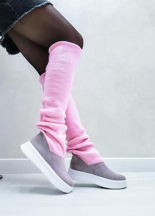 Акция чоботи замшеві р35-41 панчохи ботфорти демі зима сапоги замшевые чулки ботфорты ботинки5 фото