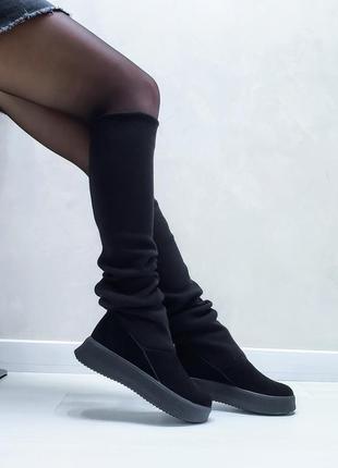 Акция чоботи замшеві р35-41 панчохи ботфорти демі зима сапоги замшевые чулки ботфорты ботинки6 фото