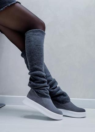 Акция чоботи замшеві р35-41 панчохи ботфорти демі зима сапоги замшевые чулки ботфорты ботинки3 фото